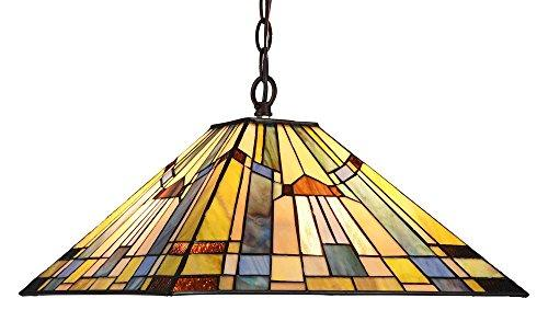 Kinsey Tiffany-Style 2 Light Mission Hanging Pendant Fixture 16