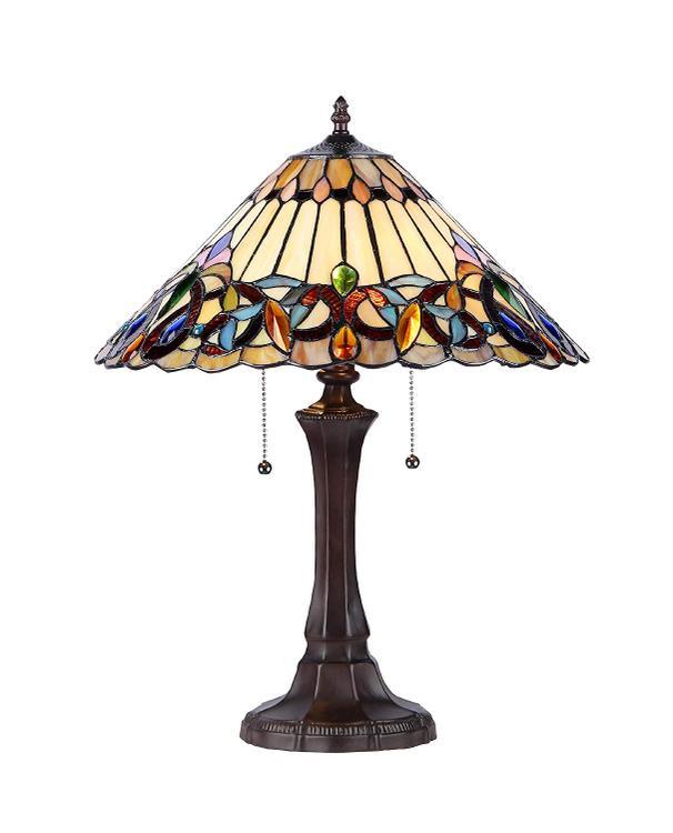 Chloe Lighting Ambrose Tiffany-Style 2 Light Victorian Table Lamp 16