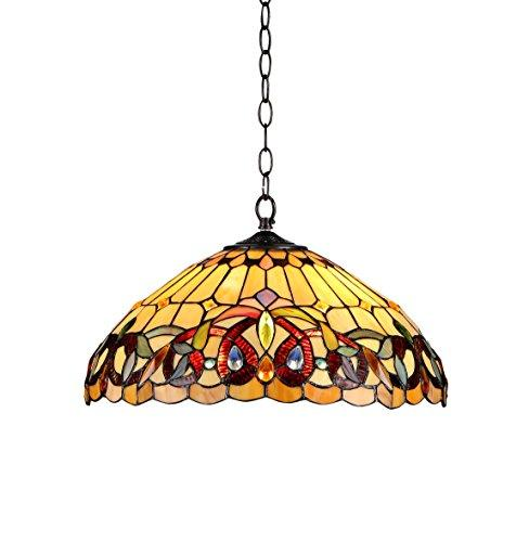 Serenity Tiffany-Style 2 Light Victorian Ceiling Pendent Fixture 18