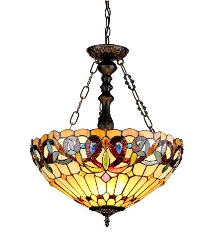 Serenity Tiffany-Style 3 Light Victorian Inverted Ceiling Pendant 18