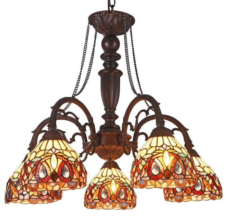 Chloe Lighting Serenity Tiffany-Style 5 Light Victorian Large Chandelier 27