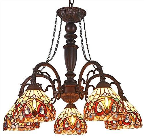 Serenity Tiffany-Style 5 Light Victorian Large Chandelier 27