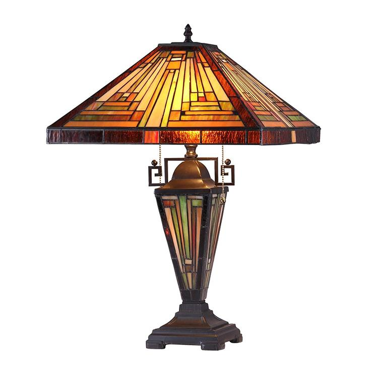 Innes Tiffany-Style 3 Light Mission Double Lit Table Lamp 16