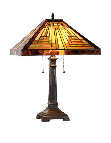 Innes Tiffany-Style 2 Light Mission Table Lamp 16