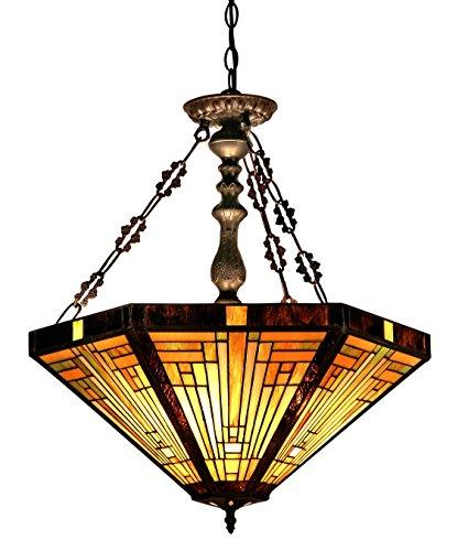Innes Tiffany-Style 3 Light Mission Inverted Ceiling Pendant Fixture 22