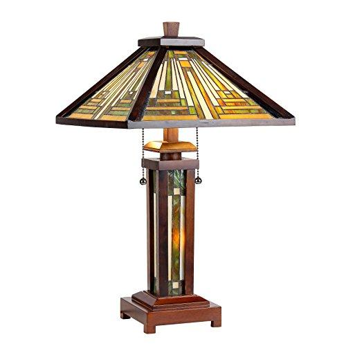 Innes Tiffany-Style 3 Light Mission Double Lit Wooden Table Lamp 15