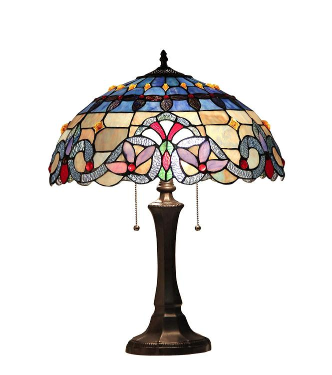 Chloe Lighting Grenville Tiffany-Style 2 Light Victorian Table Lamp 16