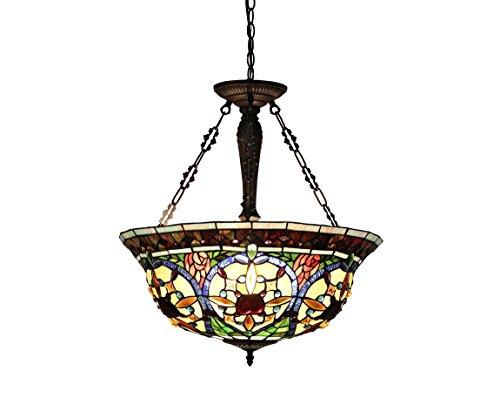 Harlan Tiffany-Style 3 Light Victorian Inverted Ceiling Pendant 22