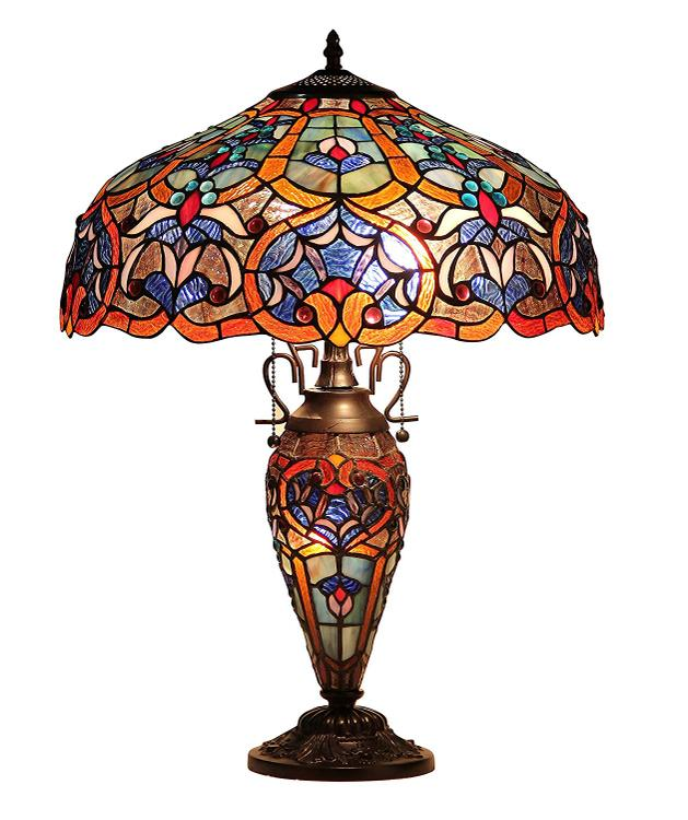 Sadie Tiffany-Style 3 Light Victorian Double Lit Table Lamp 18