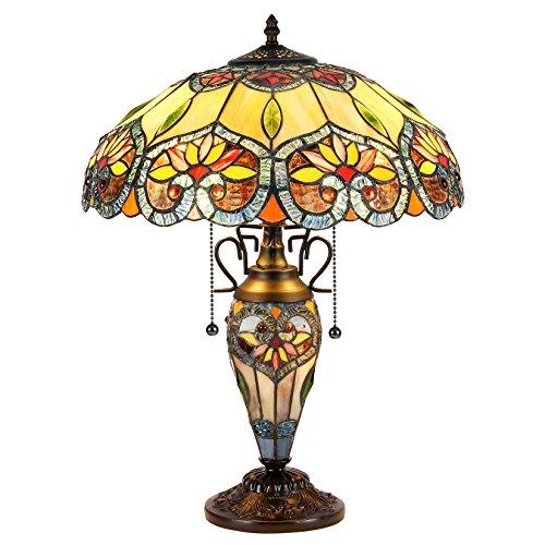 Crystorama Tiffany-Style 3 Light Floral Double Lit Table Lamp 16