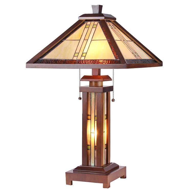 Earle Tiffany-Style Mission 3 Light Double Lit Wooden Table Lamp 15