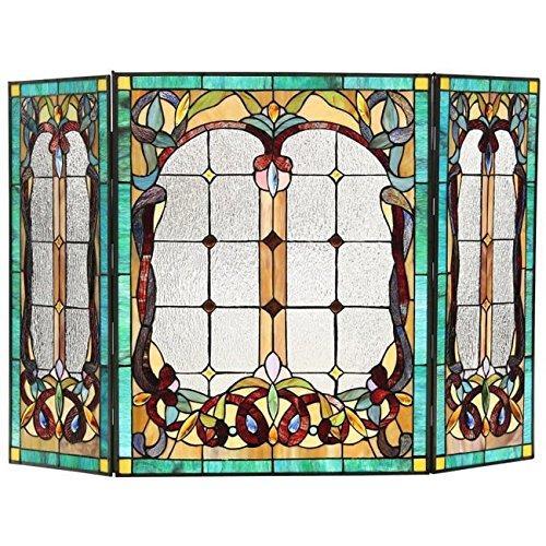 Lucian, Tiffany-Style 3Pcs Folding Victorian Fireplace Screen 44X28