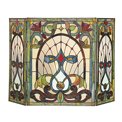 Ruby Tiffany-Glass 3Pcs Folding Victorian Fireplace Screen 44