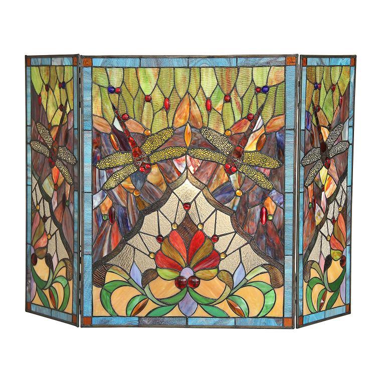 Anisoptera Purity Tiffany-Glass 3Pcs Folding Dragonfly Fireplace Screen 44