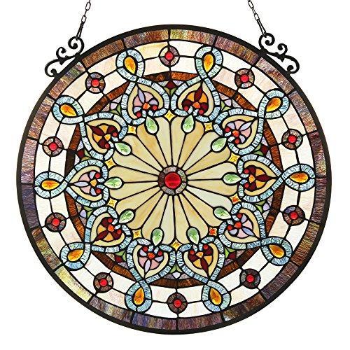 Helena Tiffany-Glass Victorian Window Panel 23.5