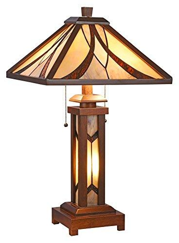 Gordon Tiffany-Style Mission 3 Light Double Lit Wooden Table Lamp 15