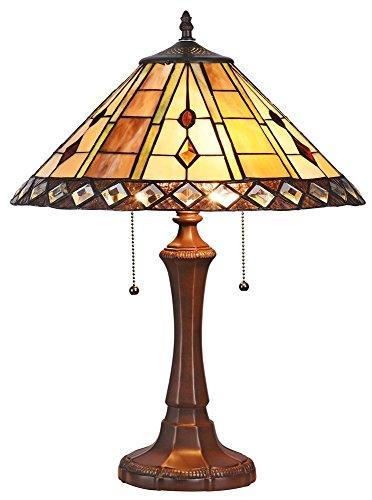 Godwine Tiffany-Style 2 Light Geometrictable Lamp 16