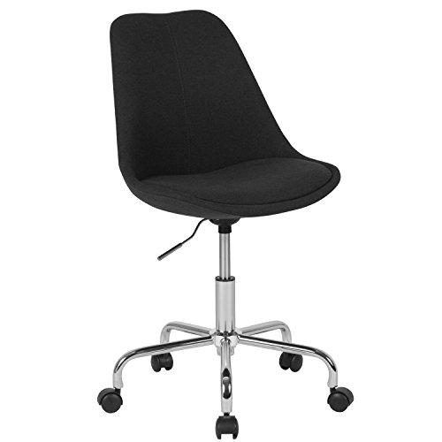 Flash Furniture Aurora Series Mid-Back Black Fabric Task Chair with Pneumatic Lift and Chrome Base