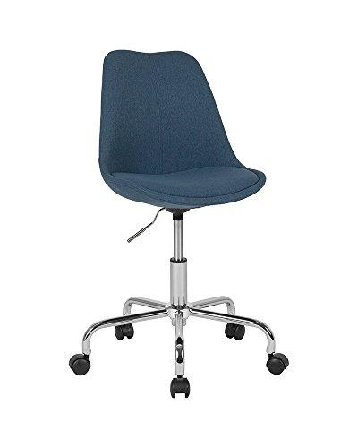 Flash Furniture Aurora Series Mid-Back Blue Fabric Task Chair with Pneumatic Lift and Chrome Base