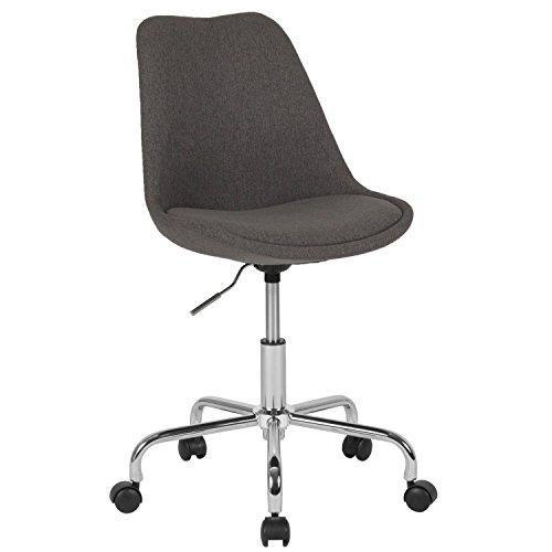 Flash Furniture Aurora Series Mid-Back Dark Gray Fabric Task Chair with Pneumatic Lift and Chrome Base