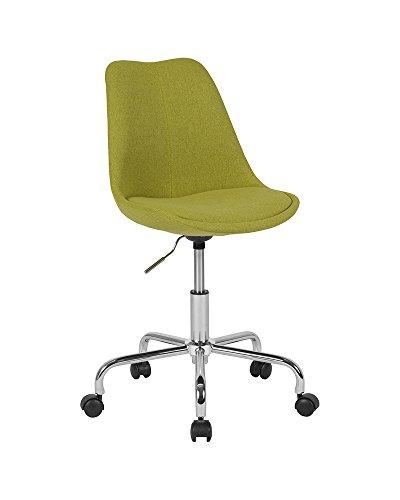 Flash Furniture Aurora Series Mid-Back Green Fabric Task Chair with Pneumatic Lift and Chrome Base