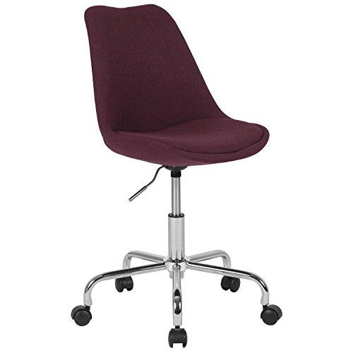 Flash Furniture Aurora Series Mid-Back Purple Fabric Task Chair with Pneumatic Lift and Chrome Base