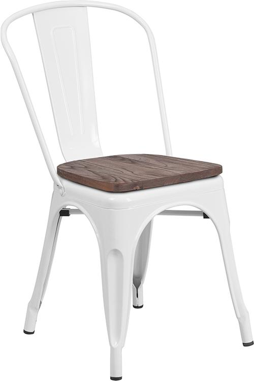 Flash Furniture White Metal Stackable Chair with Wood Seat