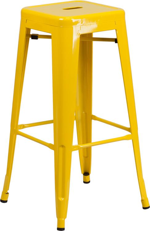 High Backless Indoor-Outdoor Barstool With Square Seat