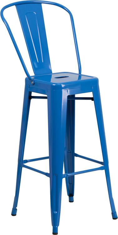Flash Furniture High Metal Indoor-Outdoor Barstool With Back