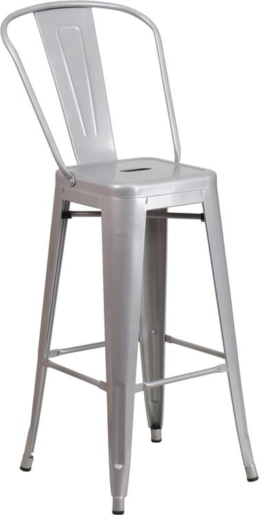 High Metal Indoor-Outdoor Barstool With Back