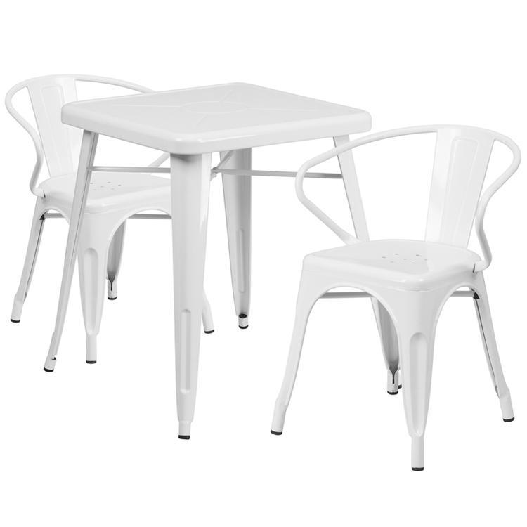 Square Metal Indoor-Outdoor Table Set
