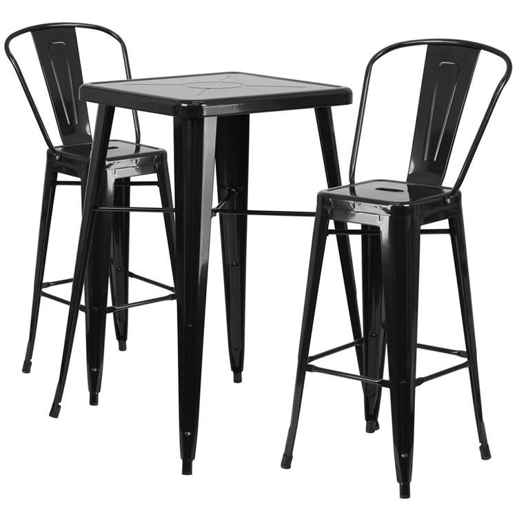 Flash Furniture Square Metal Indoor-Outdoor Bar Table Set