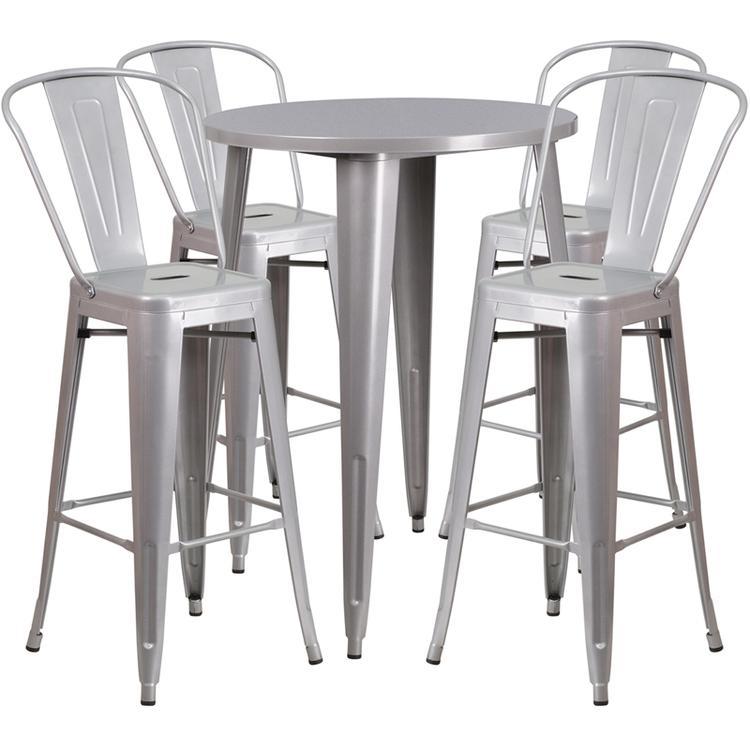 Round Metal Indoor-Outdoor Bar Table Set