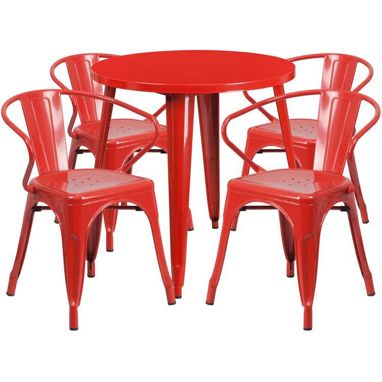 Round Metal Indoor-Outdoor Table Set