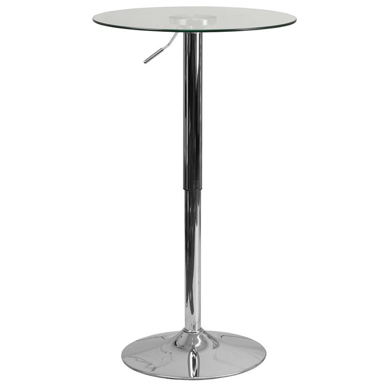 Flash Furniture Round Adjustable Height Glass Table (Adjustable Range 33.5'' - 41'')