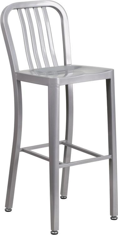 High Metal Indoor-Outdoor Barstool With Vertical Slat Back