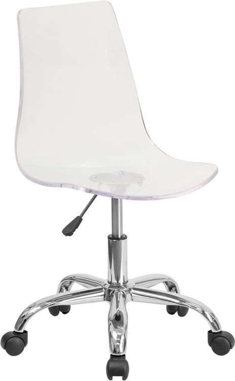 Contemporary Transparent Acrylic Swivel Task Chair With Base