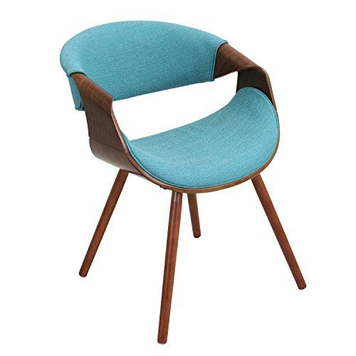 Curvo Mid-Century Modern Walnut Chair in Teal Fabric and Walnut Wood by LumiSource