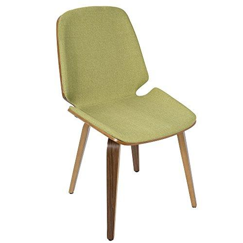 Serena Mid-Century Modern Dining Chairs in Green Fabric and Walnut Wood by LumiSource - Set of 2