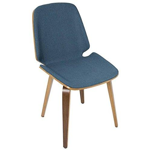 Serena Mid-Century Modern Dining Chairs in Blue Fabric and Walnut Wood by LumiSource - Set of 2