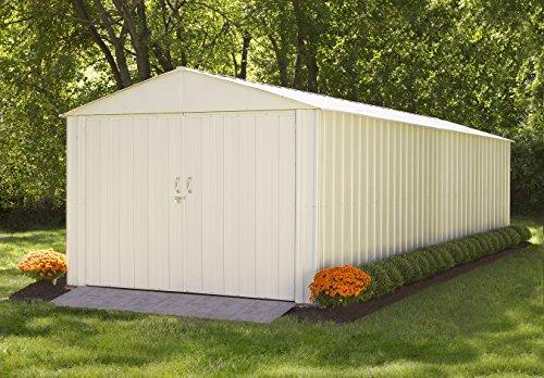 Arrow Sheds Commander, 10x25, Hot Dipped Galvanized Steel, Eggshell, High Gable, 71.3