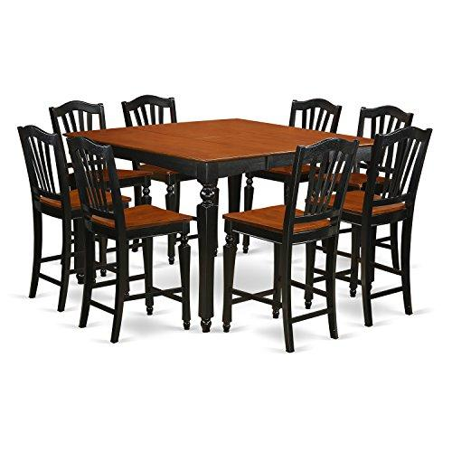 East West Furniture 9-Piece Table Set with 8 Stools