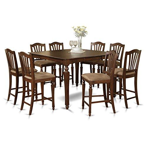 Counter Height Set- Square Pub Table And 8 Kitchen Counter Chairs