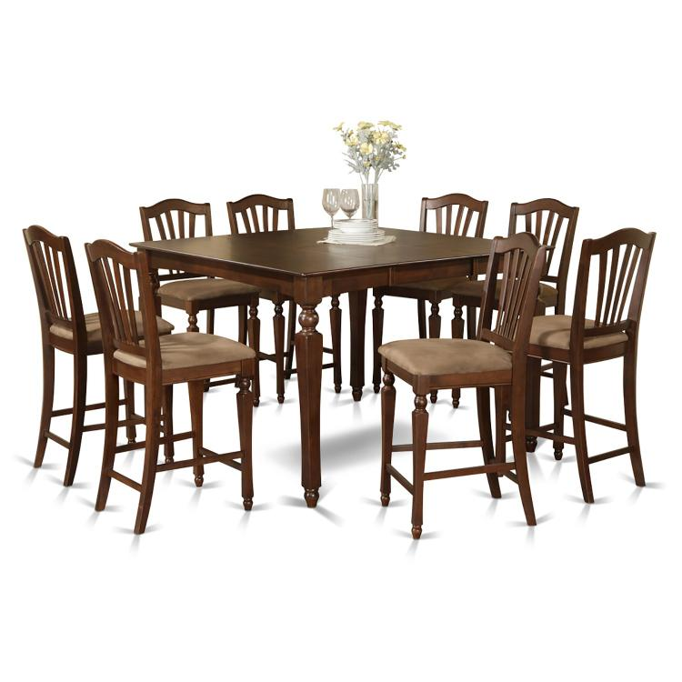 East West Furniture 9-Piece Table Set with 8 Stools [Item # CHEL9-MAH-C]