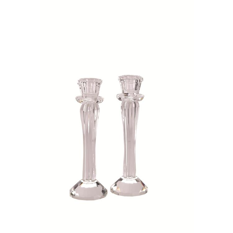 Crystal and Glass Candlesticks Sold as a Pair