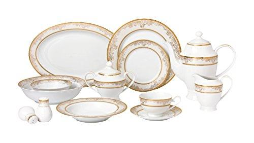 57 Piece Dinnerware Set-New Bone China Service for 8 People-Chloe