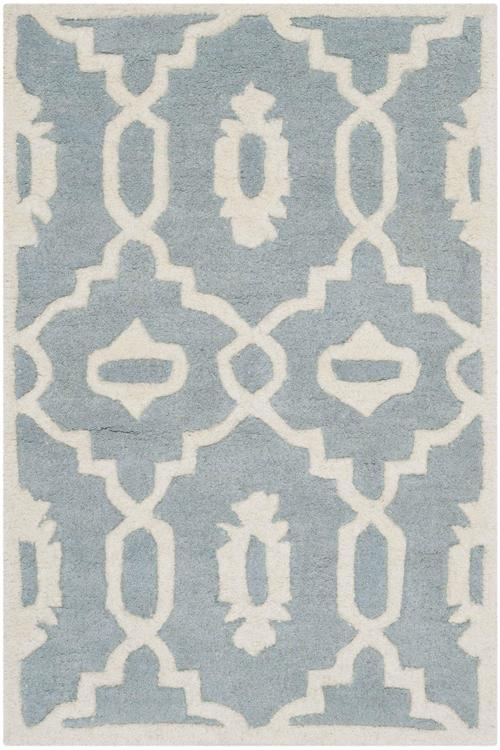 Chatham Teal/Ivory Square Rug