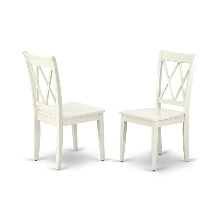 East West Furniture CLC-LWH-W Clarksville Double X-back chairs in Linen White finish