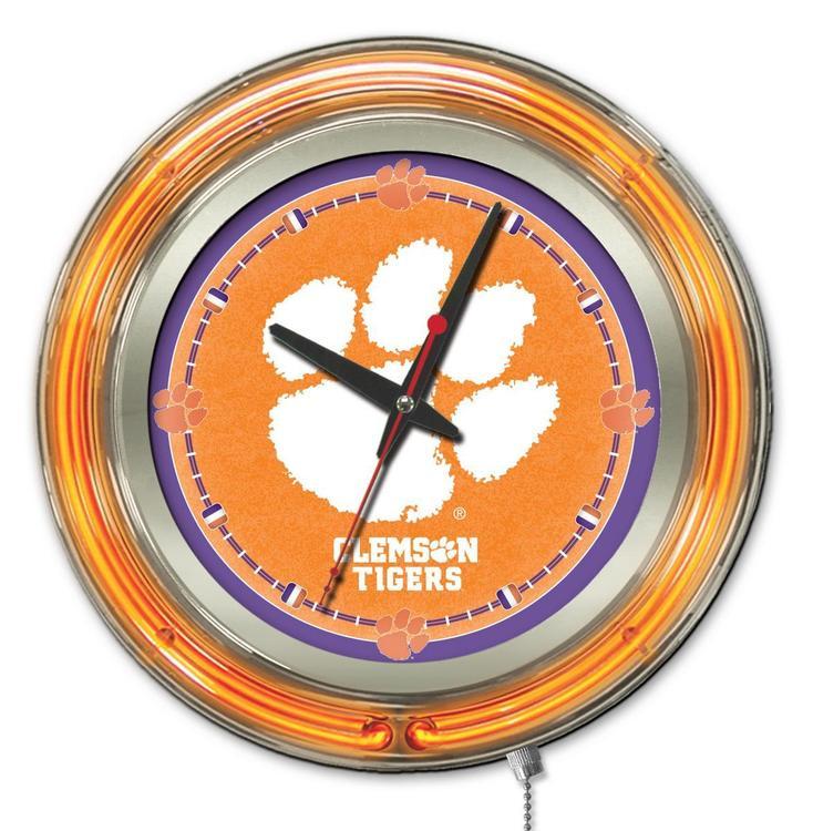 Holland Bar Stool Clemson Neon Clock