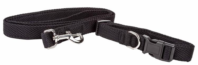 Pet Life ® 'Aero Mesh' 2-In-1 Dual Sided Comfortable And Breathable Adjustable Mesh Dog Leash-Collar [Item # CLSH14BKLG]